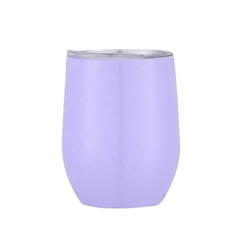 Promotional custom metal insulated vacuum wholesale double wall stainless steel egg wine tumbler cups with straw lid