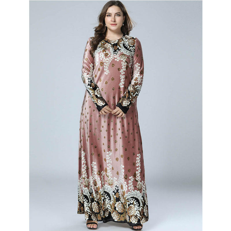 China Supplier Islamic Clothing Fancy Floral Printed Women Kaftan Abaya Muslim Long Dress