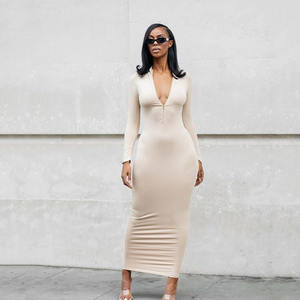 Hot selling bodycon women long sleeve dresses with low price