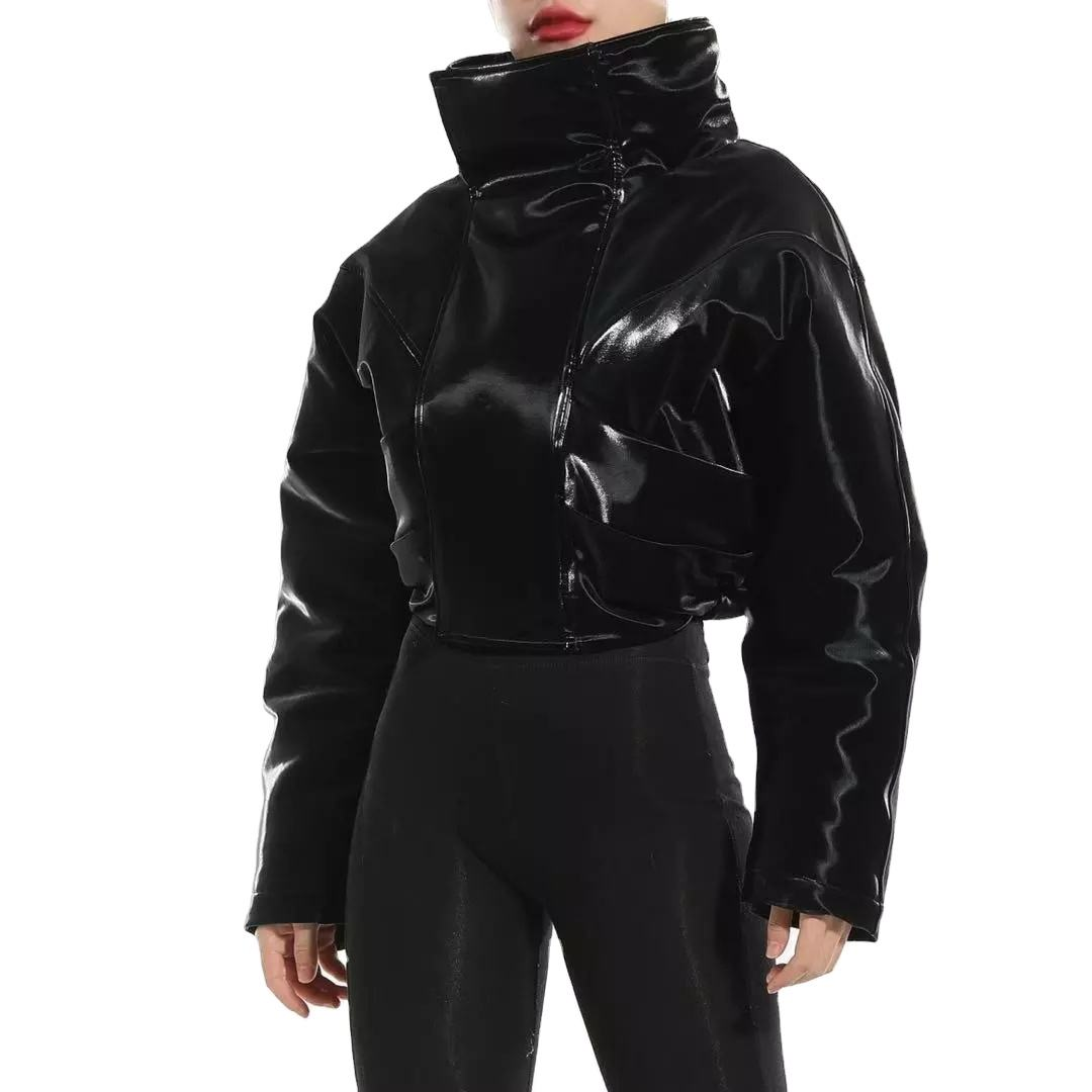 Fashion Faux Leather Motorcycle Black Short Stand Collar Zip Jacket Women's Crop Winter