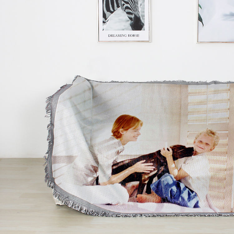 Custom digital printing gift blanket personalized jacquard woven throw image photo in blankets with your own picture