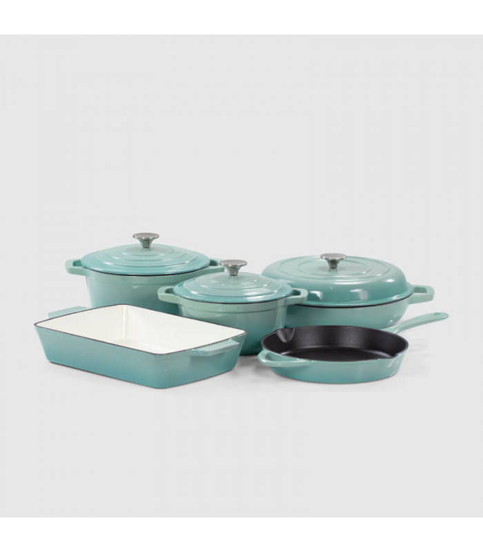 Gradient Green Enamel Cookware Sets Nonstick