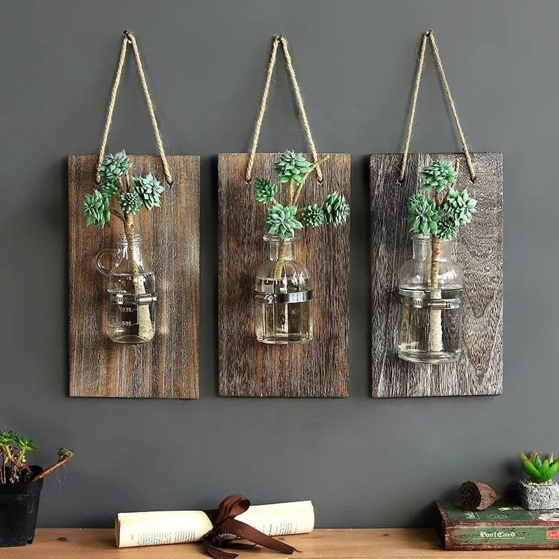 Home Decor Wall Hanging Hydroponic Air Green Plant Wood Wall Vase