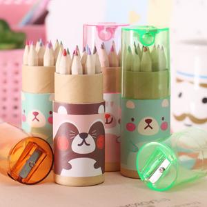 3.5 inch Custom design logo wooden colored pencil set with sharpener