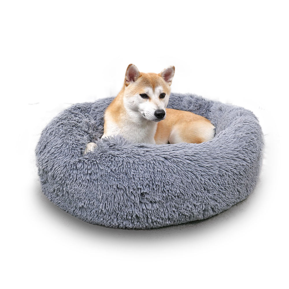 Long Faux Fur Fabric Dog Bed Comfortable Donut round dog bed super soft washable pet cushion bed