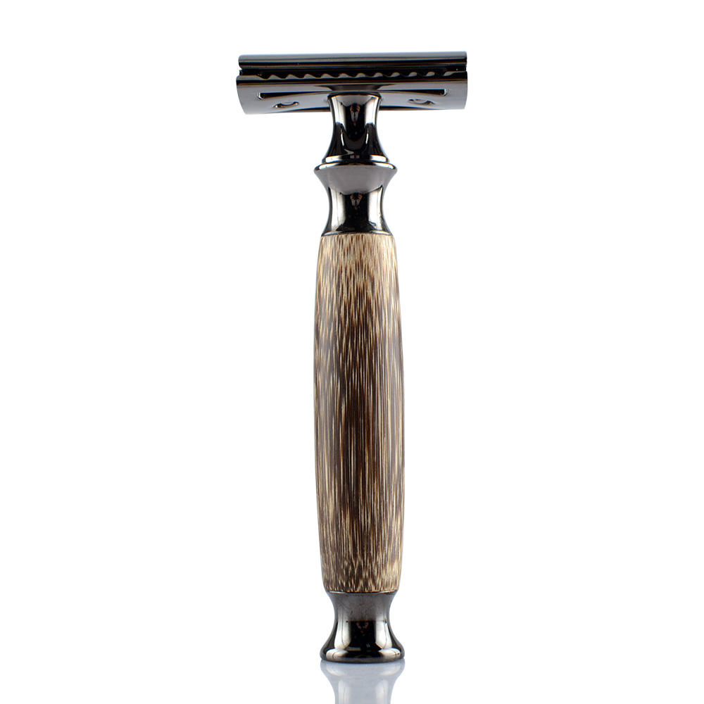 Private Label Razor Blade Black Bamboo Wood Double Edge Safety Razor