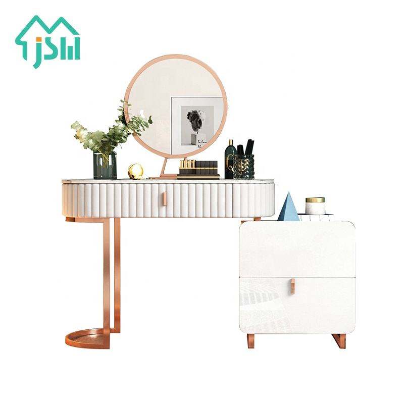Luxury Youth Modern Bedroom Furniture Rose Gold White Makeup Vanity With Mirror Buy Makeup Vanity Home Furniture Vanity Table With Stool Jieshi Design Modern Girl White Dressing Table With Side Cabinet Product On