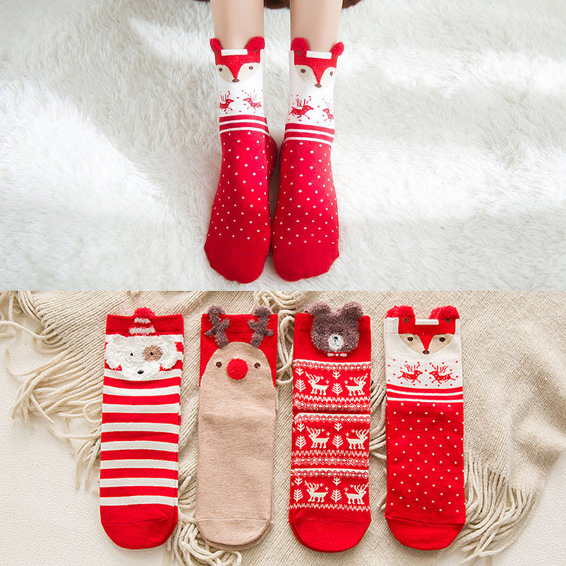 2020 Christmas Funny Cute Animal Socks for Women Bulk Wholesale Custom Cotton Socks Women Calcetines