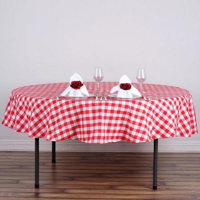 One Inch Check Round Tablecloths