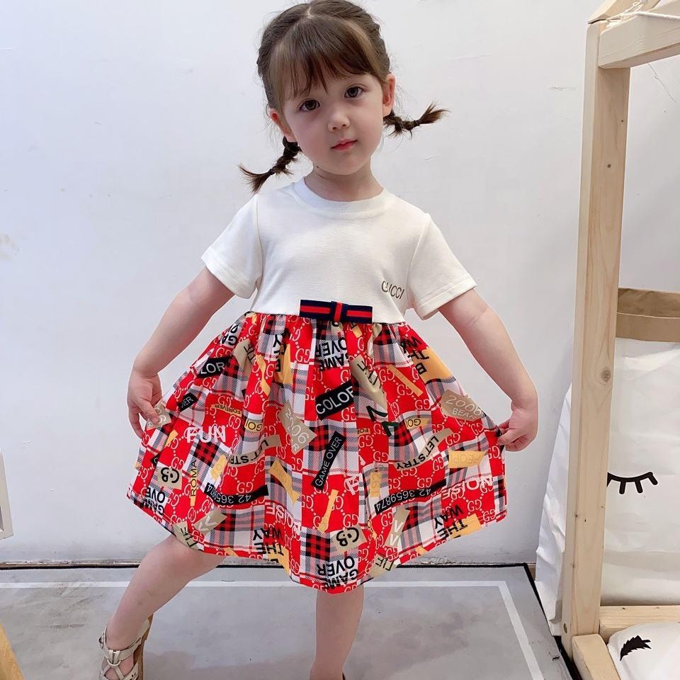 la ropa de los niños de la marca de verano nuevas chicas de costura de <span class=keywords><strong>moda</strong></span> vestido de impresión falda de princesa