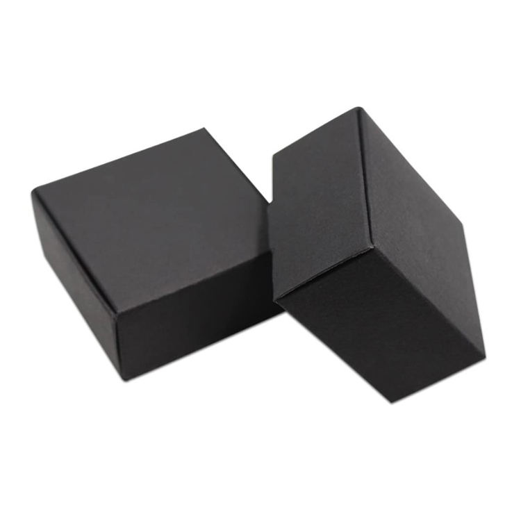 Mini Small Cardboard Square Rectangle Boxes black Kraft Paper Gift Storage Packaging Soap Jewellery Packing Box