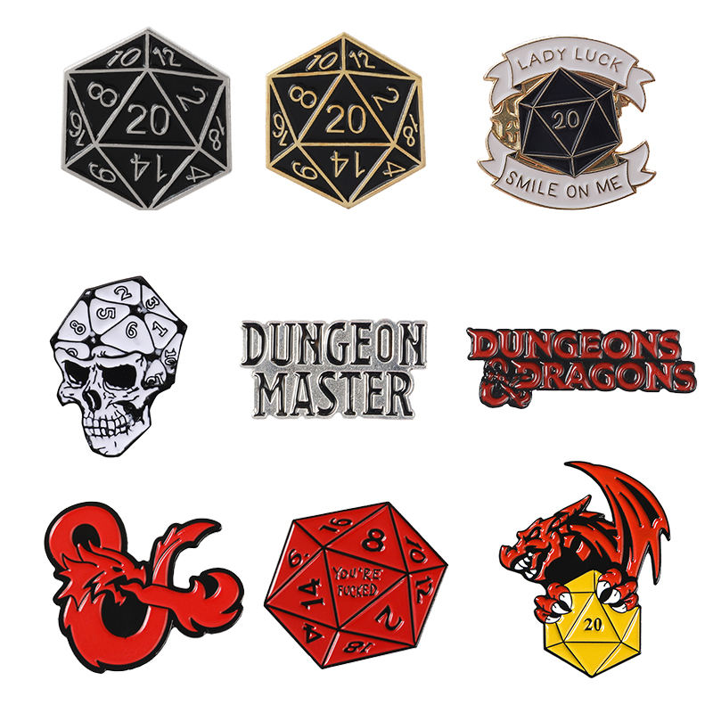 QIHE 16 Style D20 Pins Dungeons & Dragons Twenty-Sided Die RPG D&D Table-top Game Gifts Jewelry Brooches Lapel Badges Enamel pin