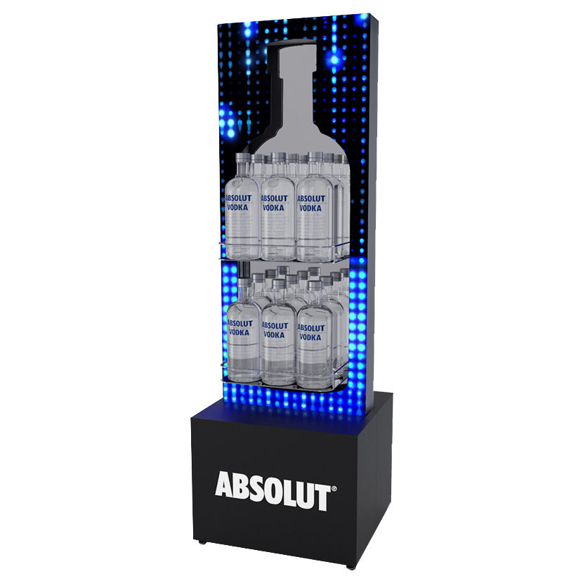 customize Absolut vodka merchandising retail display stand for liquor, wine,beer, drinks,tequila,rum,whiskey,soda water