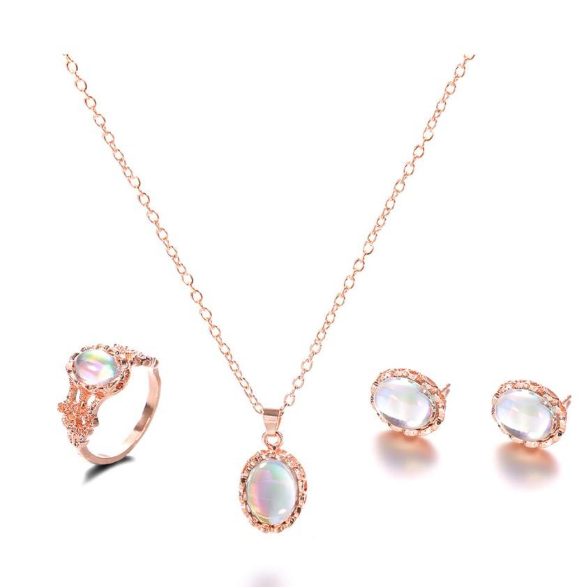 YMY001 Trade assurance 2020 latest design jewelry set opal shiny zircon earring ring necklace set Europe fashion gemstone jewel