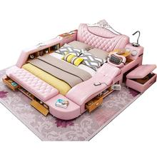 China foshan multifunctional modern tatami leather bed with mattress general use bedroom furniture wedding bed king queen double