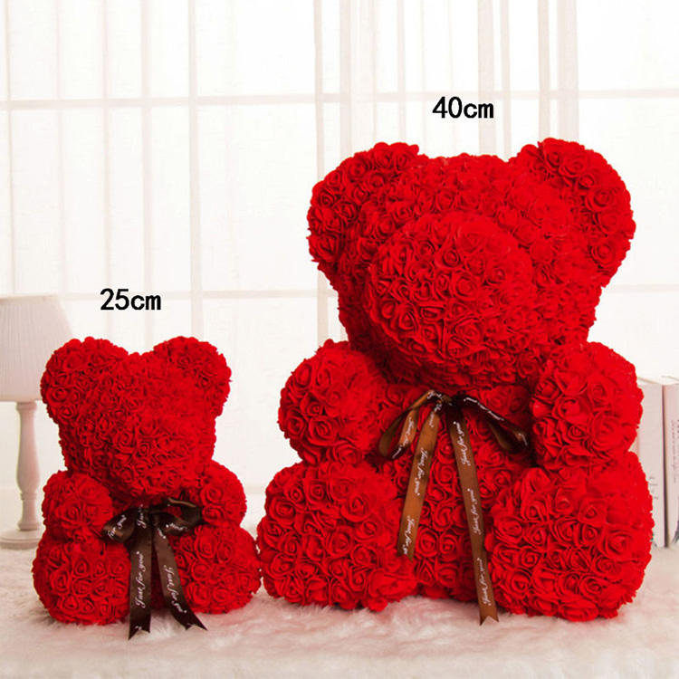 Hot Deal [ Bear Teddy ] Bear 25cm 40cm Artificial Flowers Rose Bear Multicolor Plastic Foam Rose Teddy Bear Valentines Day Gift