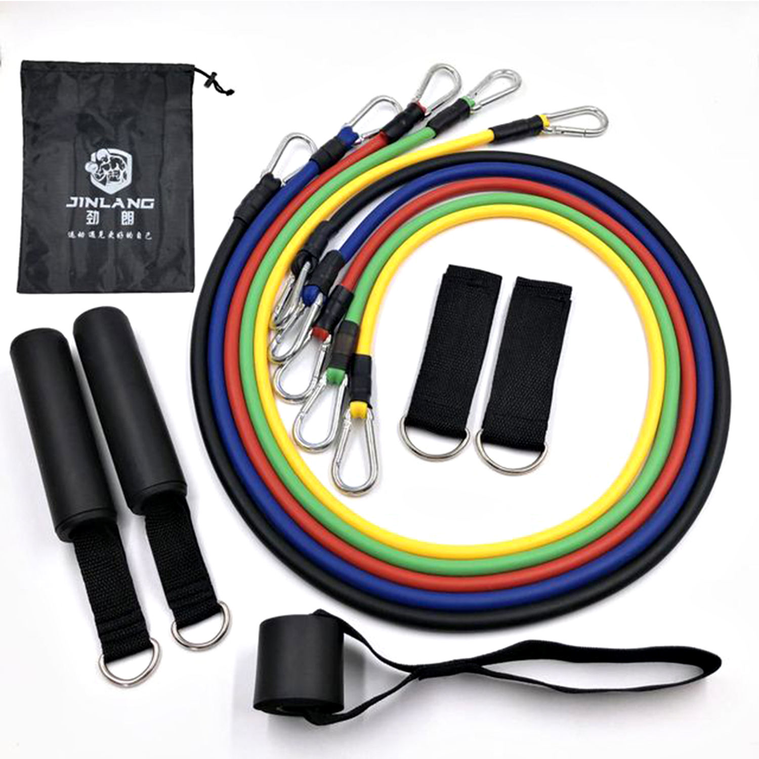 custom rubber dipped fitness resistance tube handles and door anchor set of 5 latex resistance bands