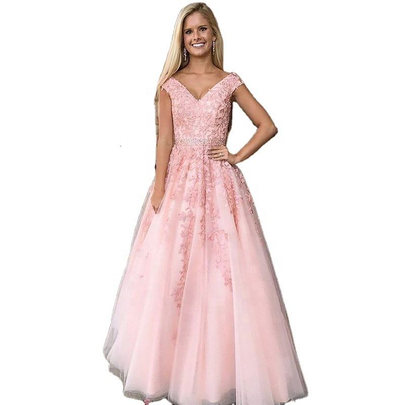 Asian fairy princess puffy prom dresses v neck appliques sleeveless
