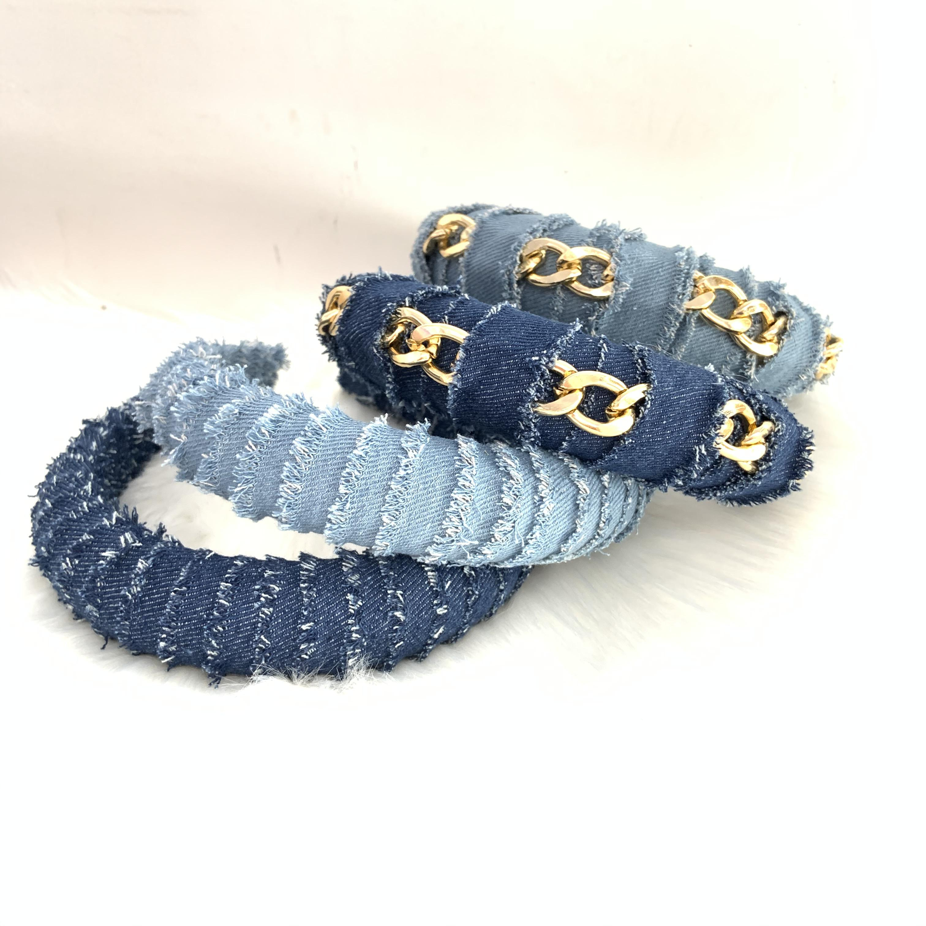 Jeans Headband 3cm Width High Quality Women's Metal Denim Headband