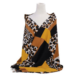 Leopard printed 100% cashmere scarf Winter cashmere scarf for cold weather women