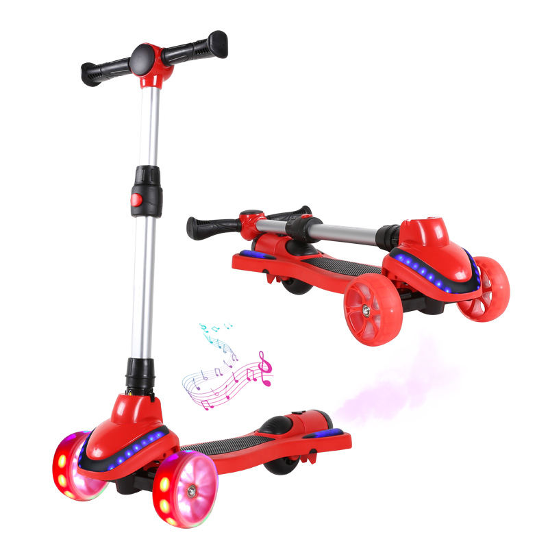2020 hot new selling kids scooter 3 wheel with light and music with Smoke foldable