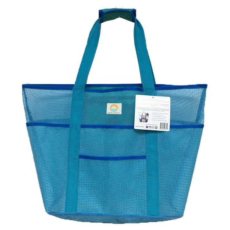 custom PVC mesh shopping bag/ bulk lager sky blue holiday sea mesh beach tote bag
