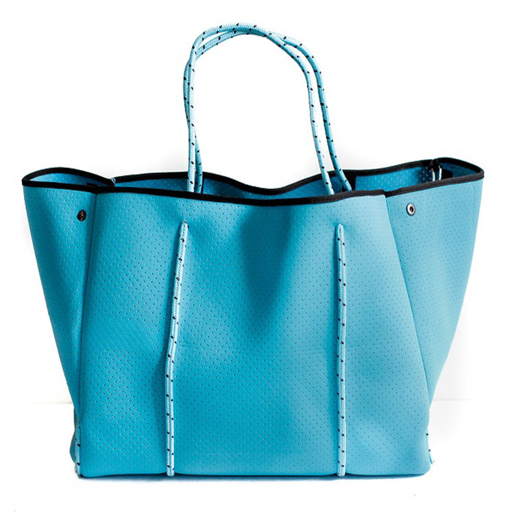 Neoprene waterproof Blue beach bag for girls beach tote bag customization