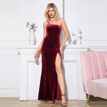 SHEIN Sexy Dresses Women Lady Elegant Red One Shoulder Long Maxi Velvet Evening Dress