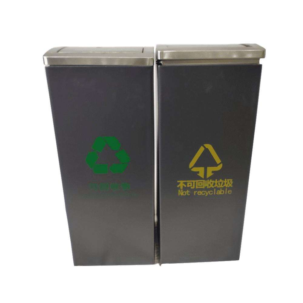 Durable Rustproof Standing Rolling Cover Trash Can 40L Sorting Stainless Steel Garbage Outdoor Bin