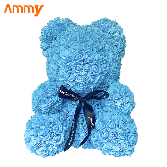 Artificial Custom Flower Teddy Flower Rose Bear For Valentine Promotion Gift