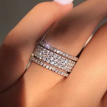 Luxury  Rhinestone Crystal Ring Wide  Love Rings For Women Wedding Engagement Jewelry Gifts