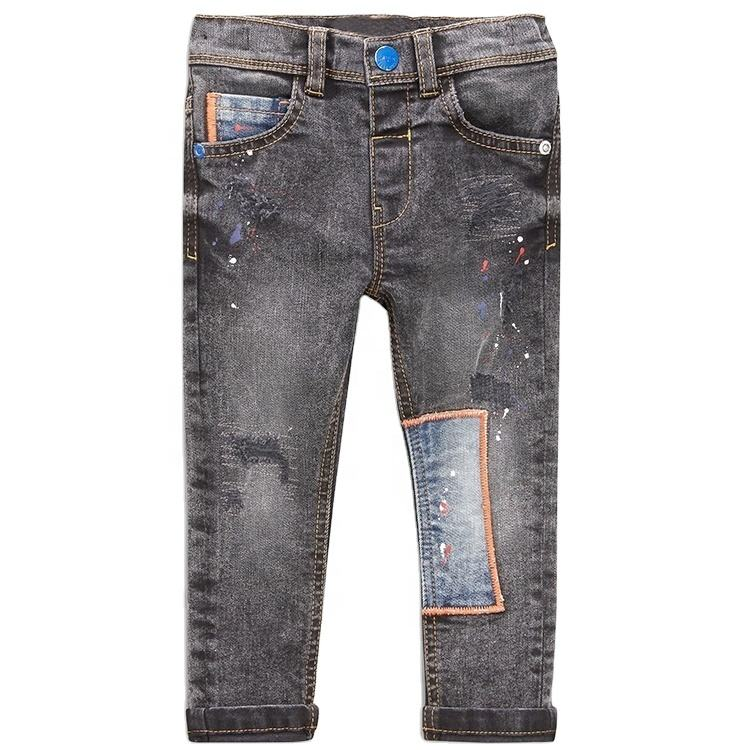 Fashion Patchwork New Design High Quality Children Printing Kids Denim Jeans With Zippers