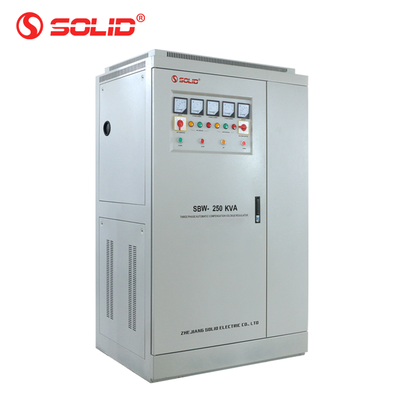 SOLID SBW-250KVA 300KVA 400KVA Three phase super power compensation automatic voltage regulator stabilizer