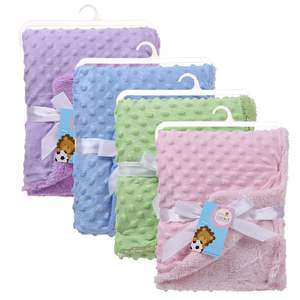2020 New Wholesale Promotional Gift Low MOQ Cheap Minky Dot Baby Blanket With Satin