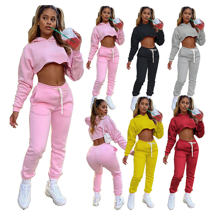 Best Design 2020 Casual Sports Suit Solid Color Ladies Hoodie Set Women Sets Two Piece For Fall And Winter