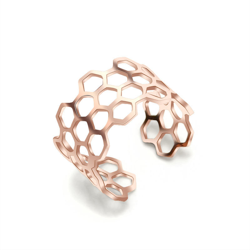 Wholesale Fashion Custom Personality Symbol Finger Open Ring Trendy hollow out Honeycomb Shape cuff ring for women