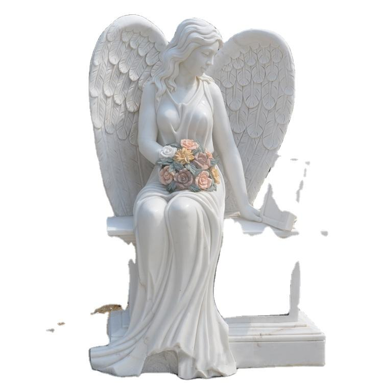 Hand Carved Marble Tombstone Polished Sitting Angel Gravestone