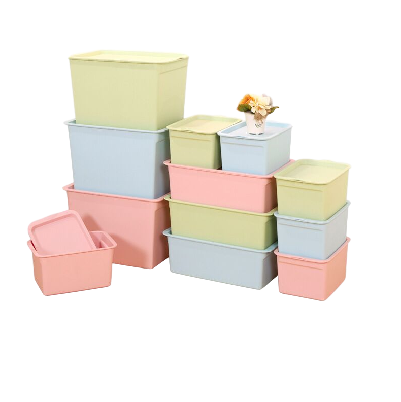 Factory wholesale kitchen bedroom big plastic preservation bin large debris colorful children finishing storage box with lid
