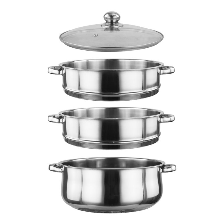 Metal Stainless Pot High Quality Restaurant Home 3 Layer Stainless Steel Food Steamer Pot Set With Glass Cover