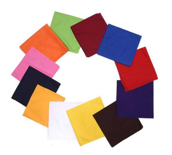 Wholesale White Blue Black Green Orange Red Blank Various Different Solid Color 100% Cotton Bandana