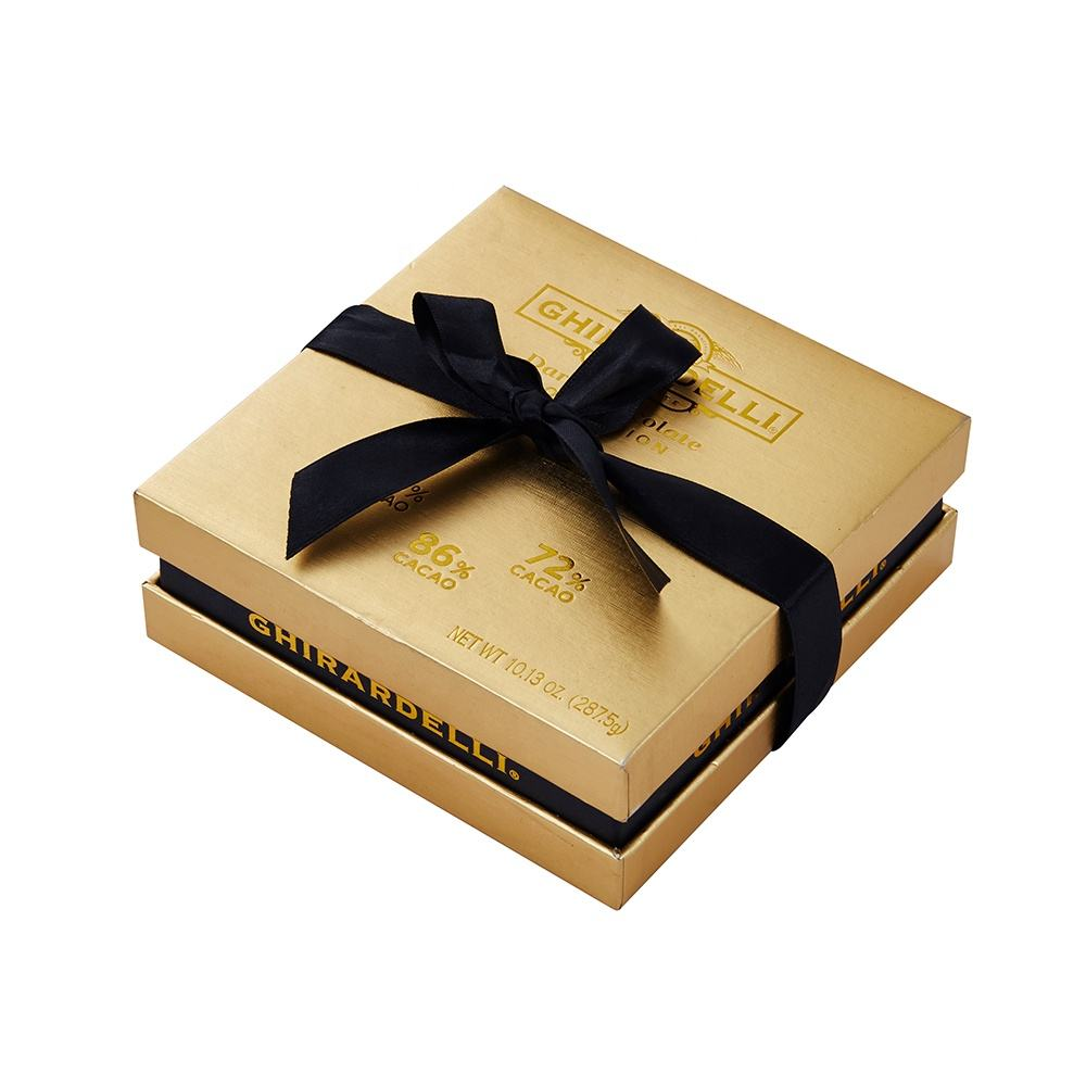 Luxury Design Custom Logo Printed Rigid Cardboard Packaging Top and Bottom Golden Paper Chocolate Gift Box