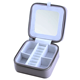 Travel Box with mirror Women Storage Jewelry Organizer for Necklace Earrings Rings Portable Jewelry Case