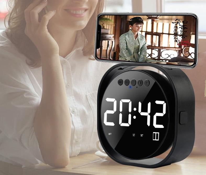CE modern fashion alarm clock phone holder mirror wireless bluetooth speaker