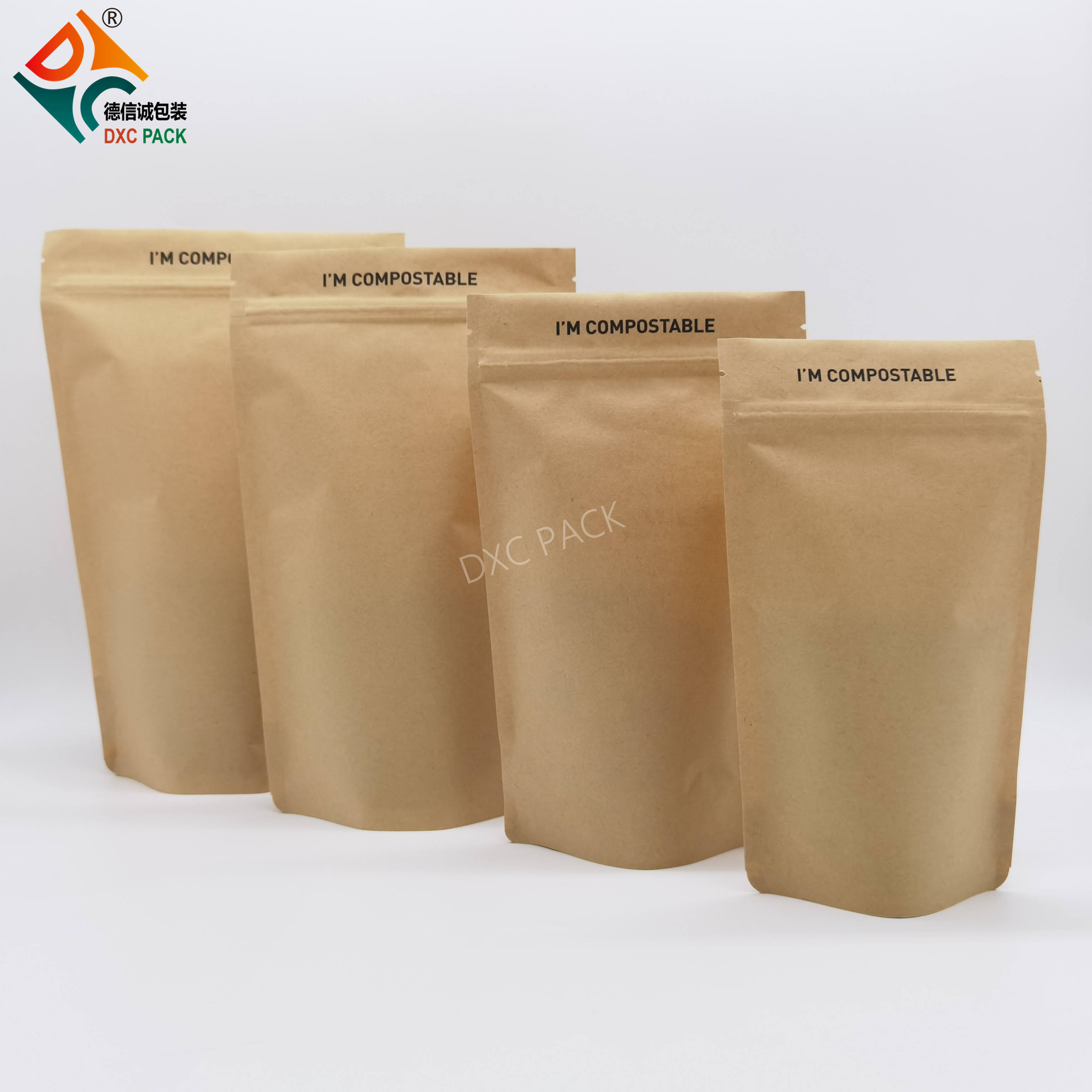 Retailer compostable stand up bio paper food packaging pouch
