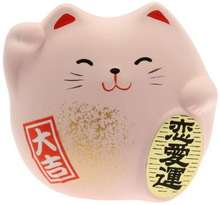 ceramic japanese lucky cat Maneki Neko Charm Renai-un Collectible Figurine, Love, Pink
