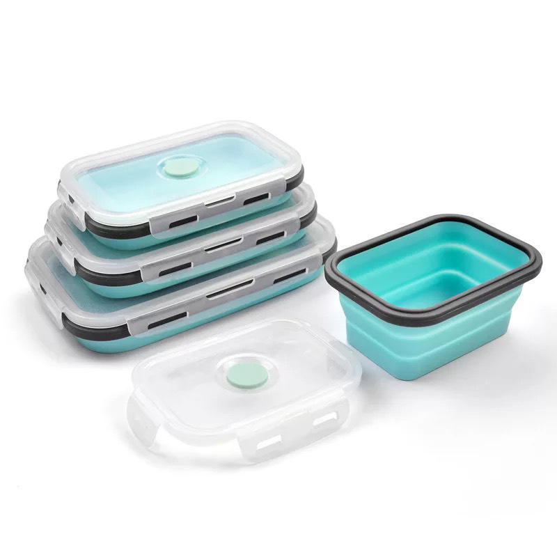 H178 Draagbare Servies Multi Functie Lekvrij Inklapbare Voedsel Container Effen Kleur Siliconen Opvouwbare lunchbox