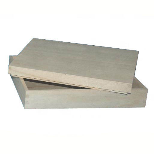 unfinished balsa wood box with recessed lid