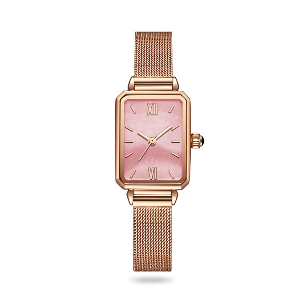 Custom logo small order 316L Square rose gold steel case japan quartz movement minimalist Petal pink dial watch for woman