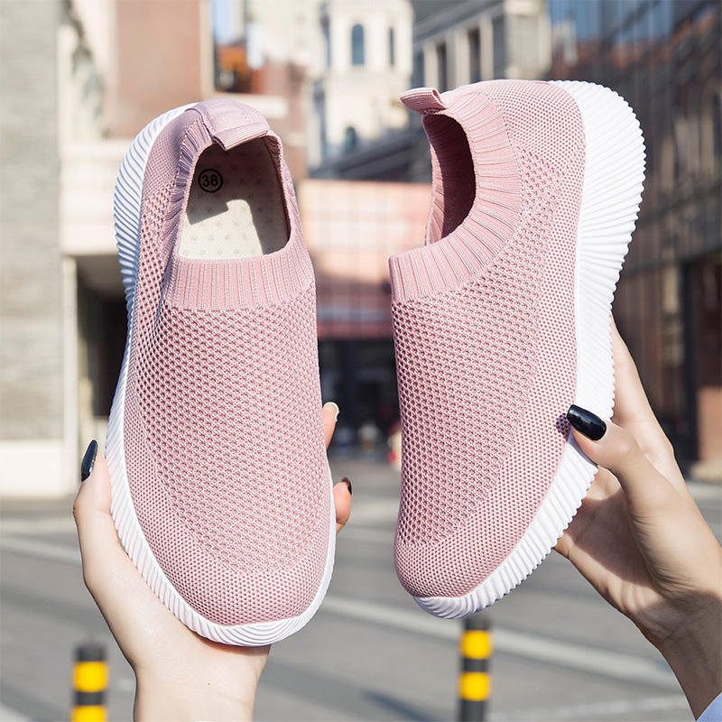Women's fashion slip on super light Athletic gym sport sock Walking Shoes Casual Mesh-Comfortable Work Sneakers