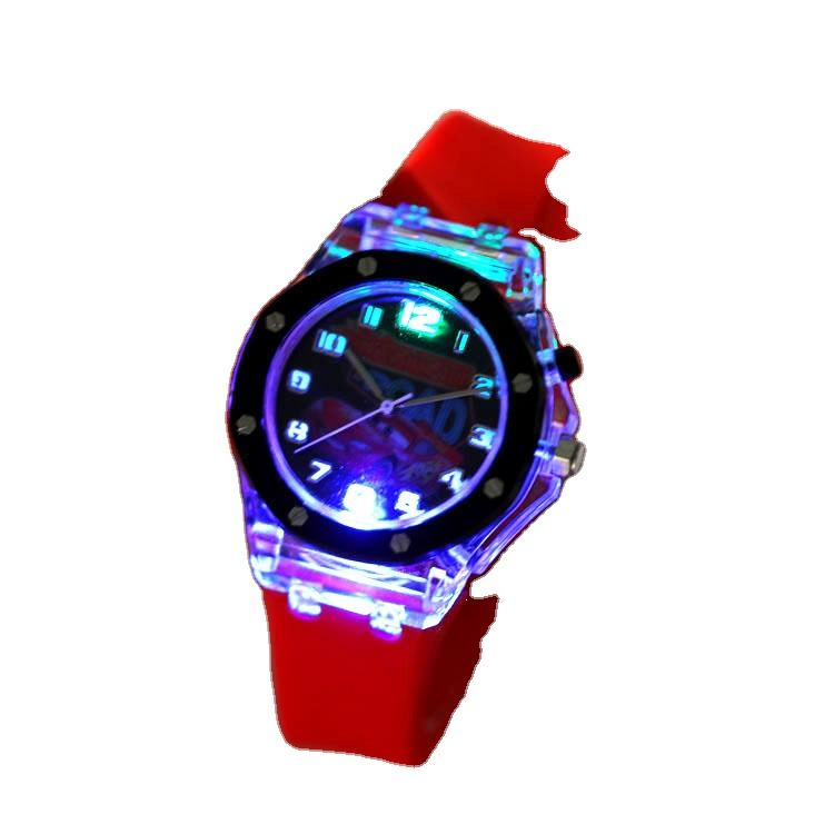 Cartoon students quartz watches flash lamp silicone cute girl children Quartz Watch
